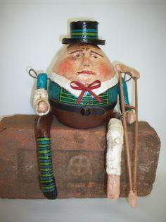 Papier Mache-Folk Art - Humpty Dumpty w/ Crutch and Casts