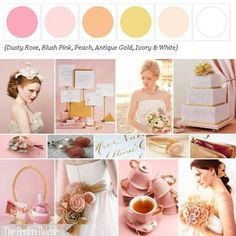 :: The Perfect Palette: Rose, pink, peach, gold, ivory | #wedding #colors