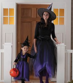 Easy to Make Mother and Daughter Witch Costume for Halloween