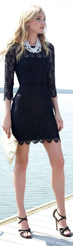 I want all of this! The dress and shoes are awesome! Such a cute LBD