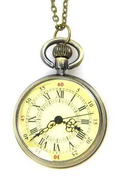 Roman Time Pocket Watch Necklace