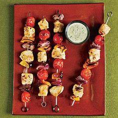 Chicken Kebabs with Creamy Pesto Recipe | MyRecipes.com
