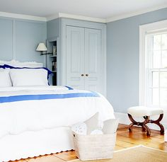 wall colors, guest bed, bedroom walls, blue bedrooms, white bedding, build in bed, closet bed side