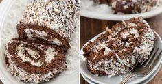 Nadýchaná kokosová roláda se smetanovou náplní a čokoládovou polevou