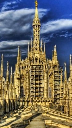 Top of Milan Cathedral, Italy. Astrogeographical position: one coordinate in between the earth sign Virgo and the air sign Libra and 2nd coordinate in Libra the sign of symmetry and beauty and ifor churches the sign of angels as well. Valid for radius/field level 3.