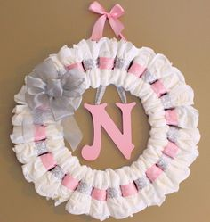 Large Custom Pink and Grey Diaper Wreath with Painted Wooden Wall Letter and Ribbon Baby Shower Gift Nursery Wall Decor by AlphabetBoutique on Etsy https://www.etsy.com/listing/453077864/large-custom-pink-and-grey-diaper-wreath