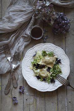 Ensalada templada de ravioli con setas y miel. To be Gourmet   Recetas de cocina, gastronomía y restaurantes.