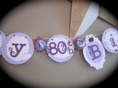 Happy 80th Birthday Banner birthday party sign decorations purple on Etsy, $25.50