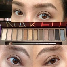 URBAN DECAY Naked 1 palette using virgin, sin, naked, buck, half-baked, and toasted