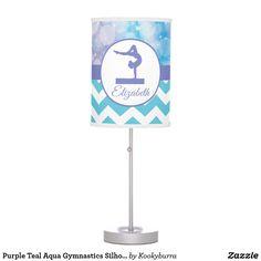 Shop Purple Teal Aqua Gymnastics Silhouette Lamp created by Kookyburra. Purple Teal, Aqua, Gymnastics Gifts, Gymnasts, Chevron, Silhouette, Beautiful, Design