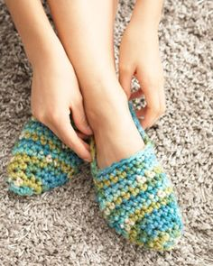 These easy slippers are fast and easy projects you can have on hand for when guests come over!