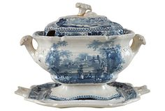 Blue  & White Tureen w/ Tray