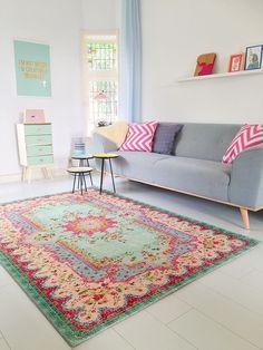 Amazon.de: Pastell Vintage Teppich | im angesagten Shabby Chic Look | für Wohnzimmer, Schlafzimmer