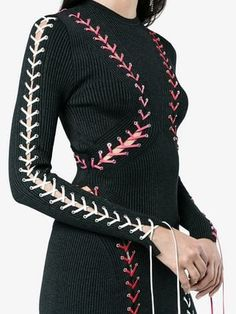 9521234250411 Alexander McQueen Knitted Tie Detail Dress - Farfetch