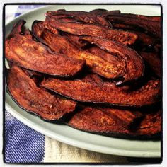 real food tulsa: Eggplant Bacon Revisited kind of requires a dehydrator but there are instructions for baking it
