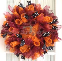 Virginia Tech color themed wreath by www.southerncharmwreaths.com