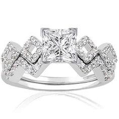 Unique Princess Cut Engagement Rings | Unique 1 Ct Princess Cut Diamond Intertwined Engagement Wedding Ring ...