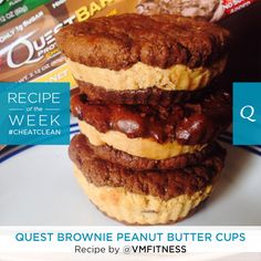 A #CheatClean treat that is simple, yet overwhelmingly delicious. This Brownie Peanut Butter Cups recipe by VMFitness will make you smile with every bite. Ingredients: - 1 Peanut Butter Supreme Quest Bar - 1 Chocolate Brownie Quest Bar Directions: Warm both Quest Bars in the microwave for 10 seconds. Break…