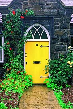 bright sunshiney yellow door