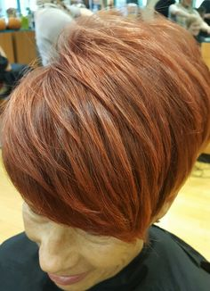 #redhair #shorthair  #illusionssalon #illusionsofshirlington #pixie #highlights #auburn #color