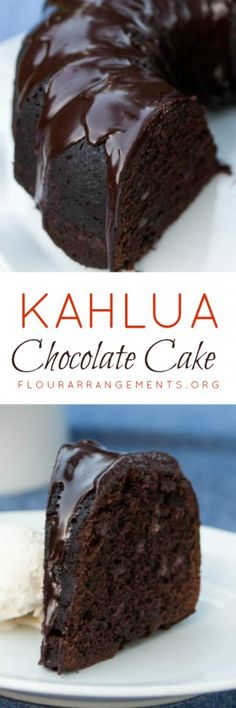 Kahlua Chocolate Cake delivers rich chocolate flavor with warm Kahlua undertones. Two recipes included -- a scratch recipe and a doctored box recipe.