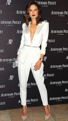 Alessandra Ambrosio in a white plunging Alexandre Vauthier suit