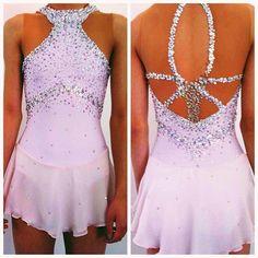 Pink Figure Skating Dresses | Faint Pink custom figure skating dress