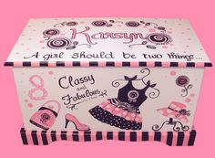 Custom designed Glamour Girl toy chest to compliment your bedding and nursery theme. hand-made of birch wood. * Comes with double safety hinges. * Air vent in back. * Toy Measures 33 long by 17 wide by high Current time frame is 8 to 10 weeks to complete. Hand Painted Furniture, Kids Furniture, Wooden Toy Boxes, Princess Toys, Decoupage Box, All Toys, Wooden Chest, Custom Boxes, Painting For Kids