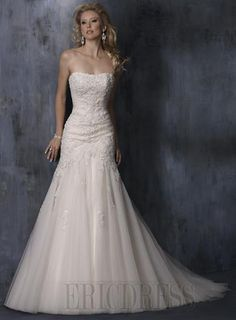 Embroidering Strapless Wedding Dresses A Line Sweeping T      Market Price:$279.00      Unit Price: $ 150.99