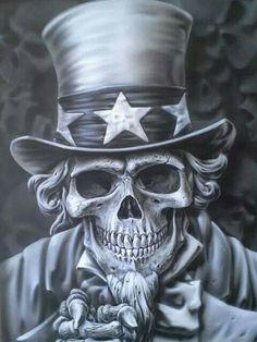 Uncle Sam Skull,  airbrushed fineart.