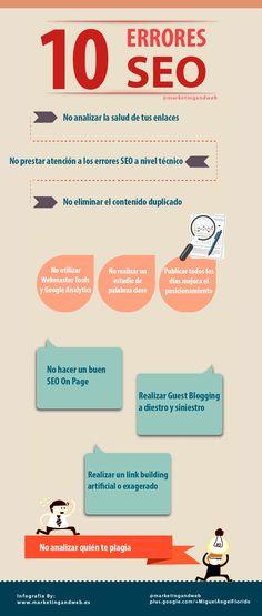 10 herrores comunes a la hora de realizar Seo. Infografía #posicionamiento #diseñoWeb