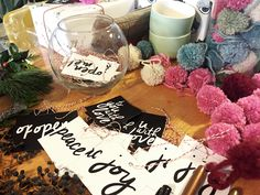Gift tags by Simply Gifted at a Gift Wrapping Workshop at The Lemon Bowl DC.