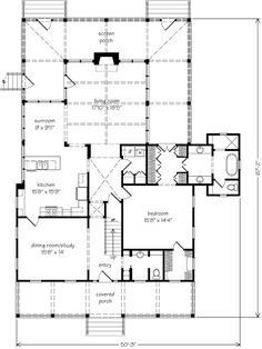 SL The Potter's House SL-1484 1st floor - love the porch plan and sunroom.  2 additional bedroom & baths upstairs.