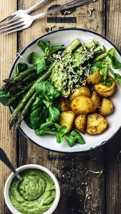 Spring Bowl with Asparagus, Potatoes & Avocado Cream