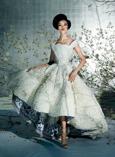 The Silk Road - At the Christian Dior Haute Couture spring 2009 show in Paris, John Galliano's lining on a cream silk ball gown (worn by model Fei Fei Sun) referenced the designer's fascination with blue-and-white porc