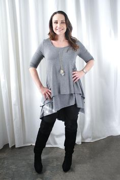 Rae is the quintessential nursing top for mamas. Easy, effortless style, and enough fabric to cover your bum-- she's perfect for pairing with your favorite leggings! The front features our two-layer design, allowing for full coverage while you breastfeed or pump (if you're into that sort of thing). The super-soft fabric drapes beautifully over your all your curves.