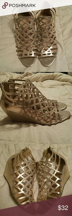 """Henie caged demi wedge sandals Material girl gold wedges size 9.5, only worn once to a wedding. Just bought them this season from Macy's. Really comfortable. I'd keep them but I'm a black shoe whore, so I won't wear these again. 2 1/2"""" wedge heel, zipper closure in back. Material Girl Shoes Wedges"""
