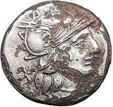 138BC Roman Republic Ancient SILVER PLATED Denarius Goat Chariot Coin i54776