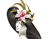 Kentucky Derby Hat, Garden Party, Easter Hat, Large Brim, Black Panama Straw