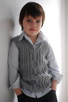 """Knitting Patterns Boy Ravelry: Pembroke Vest pattern by Kirsten Kapur"", ""I'm afraid the Petite Purls website has shut down and t Baby Boy Knitting Patterns, Knitting For Kids, Knitting Designs, Baby Patterns, Knitting Projects, Matching Sweaters, Baby Sweaters, Crochet Vest Pattern, Free Pattern"
