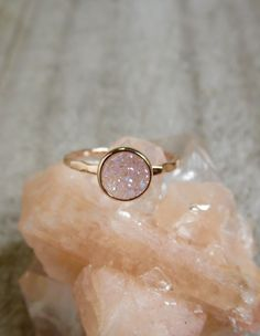 Tiny Rose Gold Druzy Ring Natural White AB Druzy by julianneblumlo