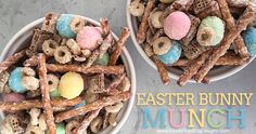 In less than 5 minutes you can whip up thisEaster Snack Mix, aka Bunny Munch!! A great treat for all guests, young and old, at your party.