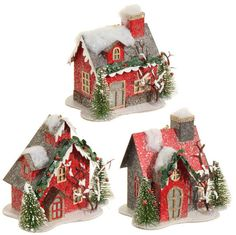NEW red putz house ornaments. These light up! Here is a link to see more coordinating ornaments and decorations from the RAZ Night Before Christmas collection at Shelley B Home and Holiday http://shelleybhomeandholiday.com/shop-by-brand/raz-imports/raz-christmas/raz-christmas-2015/raz-night-before-christmas/