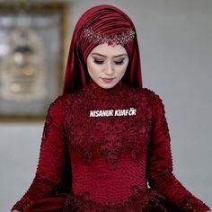 Hijab is elegant Muslim outerwear that will add breathtaking charm on your modern wearing. Hijab can Muslim Wedding Gown, Muslimah Wedding Dress, Hijab Wedding Dresses, Bridal Dresses, Hijabi Girl, Girl Hijab, Muslim Girls, Muslim Women, Muslim Fashion
