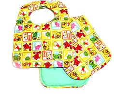 Baby Bib and Burp Pad set featuring Sesame Street by sewinggranny, $11.00