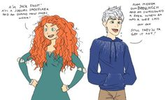 Merida and Jack mimicking each other lol <---------- I can see them bantering with each other on a daily basis Cartoon Crossovers, Disney Crossovers, Disney And Dreamworks, Disney Pixar, Merida Disney, Walt Disney, Disney Characters, Best Crossover, Disney Ships