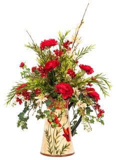 Red and Cream Silk Floral Arrangement in a Poppy Pitcher - traditional - artificial flowers - by FineStems Artificial Floral Arrangements, Silk Floral Arrangements, Floral Centerpieces, Artificial Flowers, Wedding Centerpieces, Faux Flowers, Silk Flowers, Spring Flowers, Ikebana