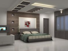 attractive bedroom ceiling designs_white painted ceiling with brown square accent_grey wooden flat bed with cream striped bedsheet and green bedcover