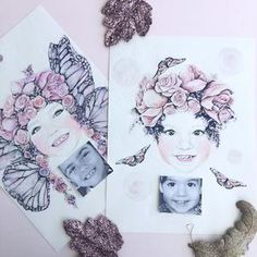 Fine art print One Sonny Day. Australian kids and children's art. Soft pink flower crown, lilac floral headdress, delicate antique lace embossing, pink purple butterflies, bubbles, custom portrait, custom design. Perfect for wall art, little girls bedroom deco, children kids gifts, christening, baby shower, christmas present. Watercolour, painting, quote