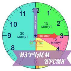 Изучаем время по часам, шаблон часов для обучения ребенка времени